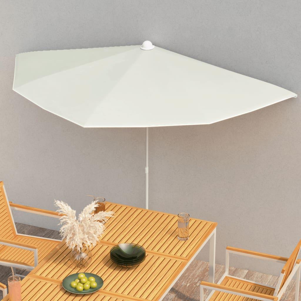 vidaXL halv parasol med stang 180×90 cm sandfarvet
