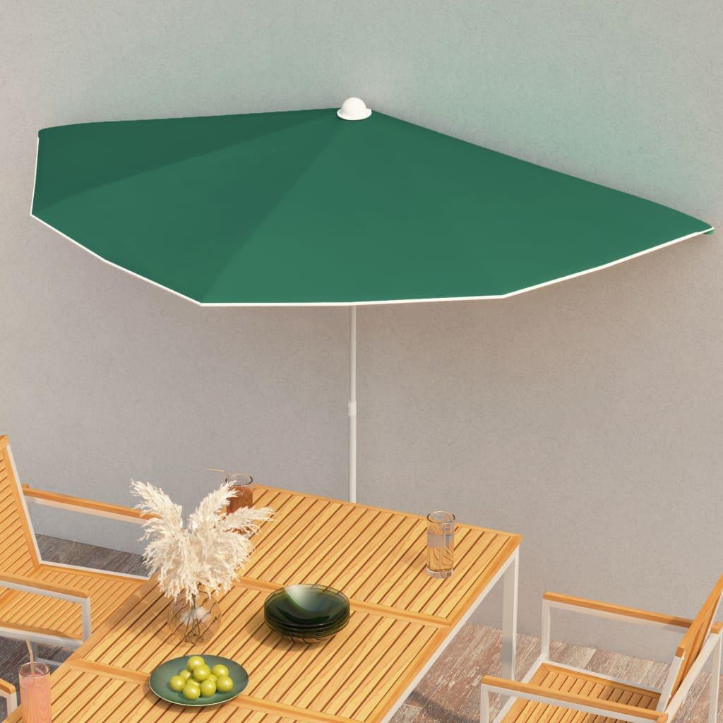 vidaXL halv parasol med stang 180×90 cm grøn