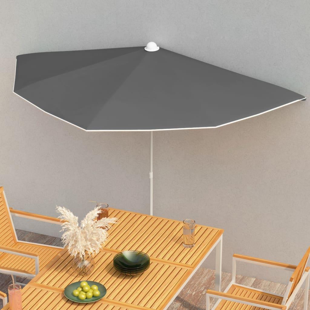 vidaXL halv parasol med stang 180×90 cm antracitgrå