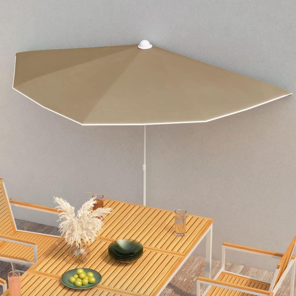 vidaXL halv parasol med stang 180×90 cm gråbrun