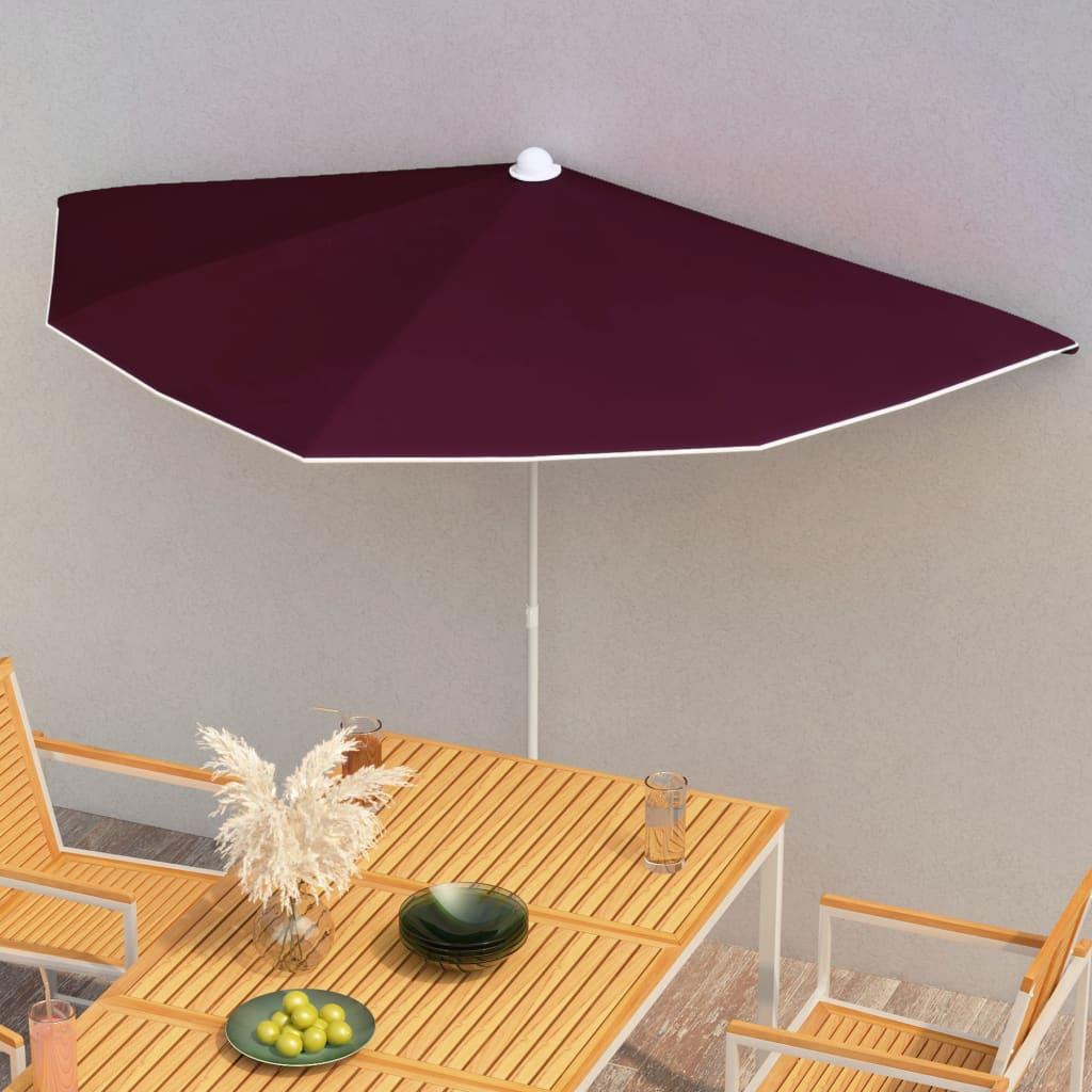 vidaXL halv parasol med stang 180×90 cm bordeaux