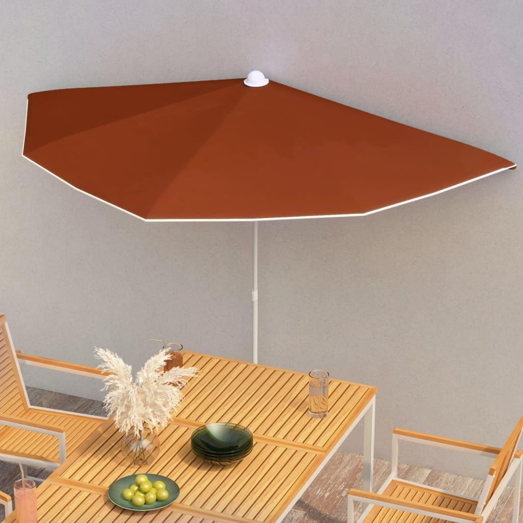 vidaXL halv parasol med stang 180×90 cm terrakotta