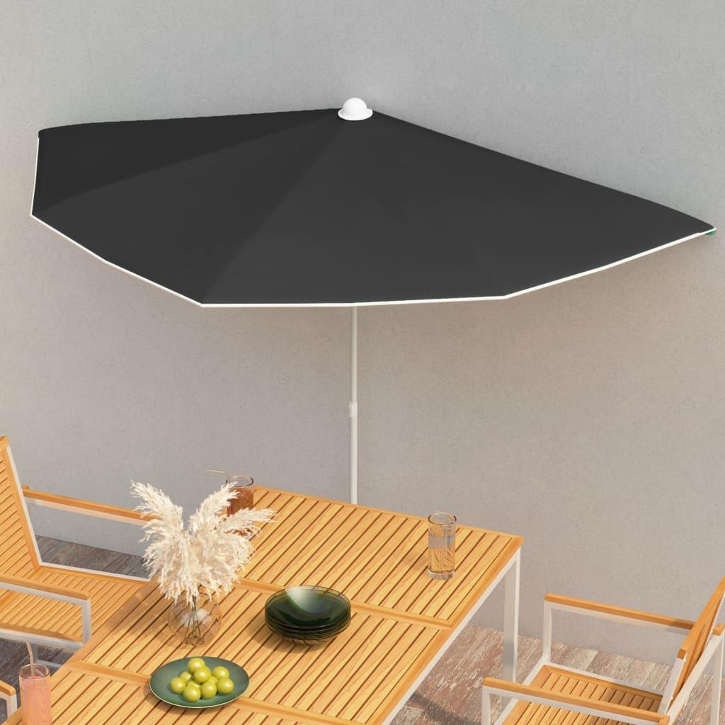 vidaXL halv parasol med stang 180×90 cm sort