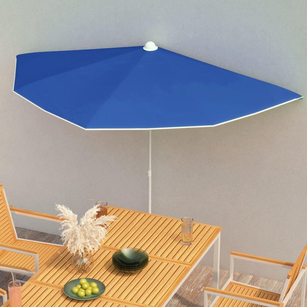 vidaXL halv parasol med stang 180×90 cm azurblå