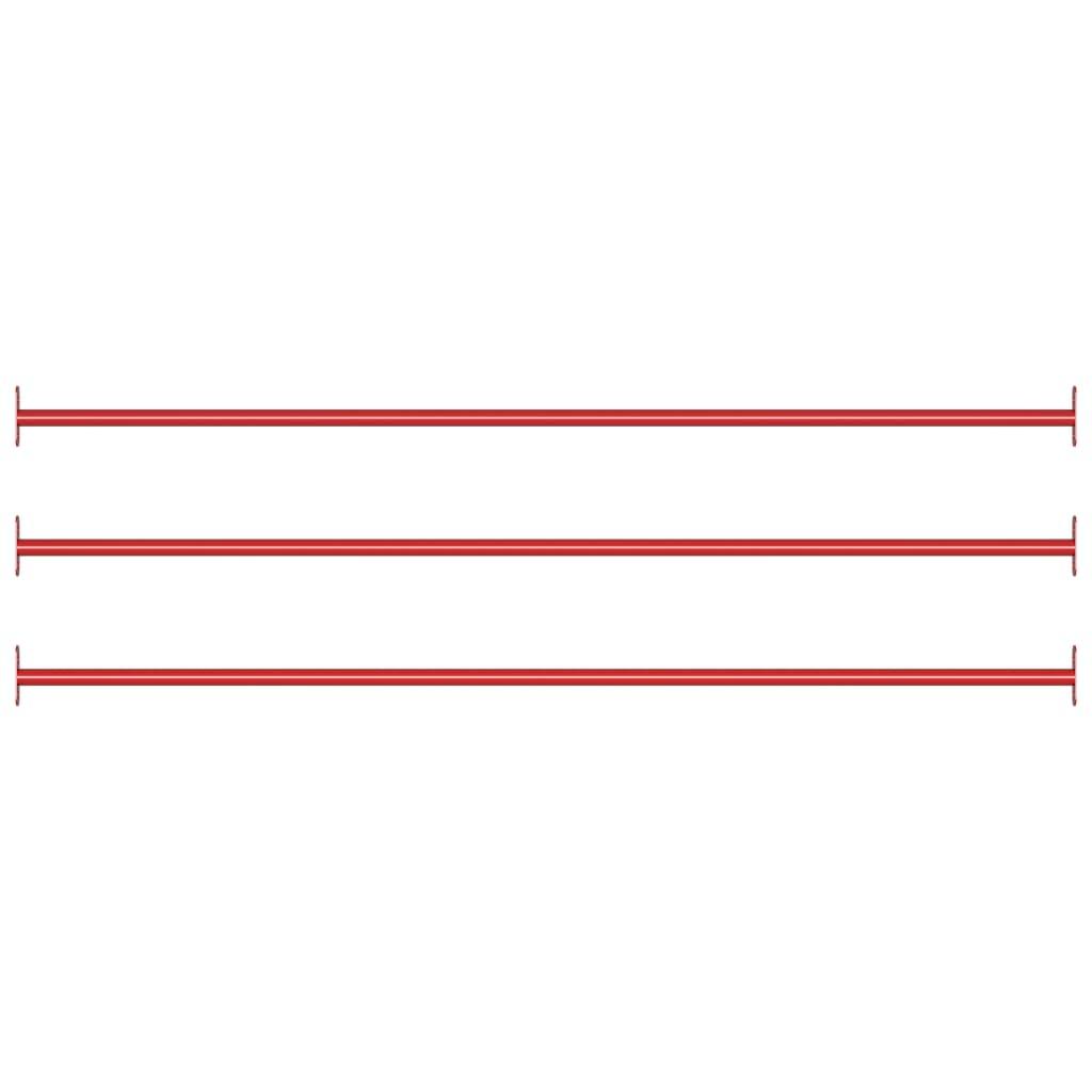 Prečke za prevrtanje 3 kom 125 cm čelične crvene
