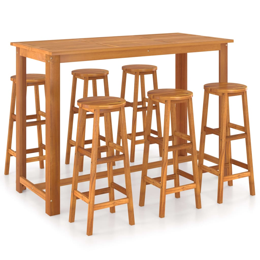 vidaXL Set mobilier de bar, 7 piese, lemn masiv de acacia vidaxl.ro