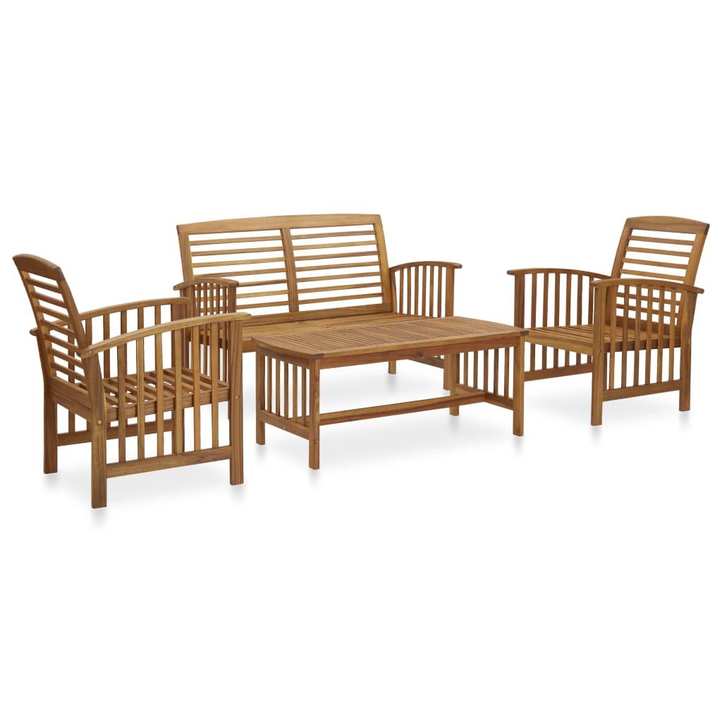 vidaXL Set mobilier de grădină, 4 piese, lemn masiv de acacia imagine vidaxl.ro