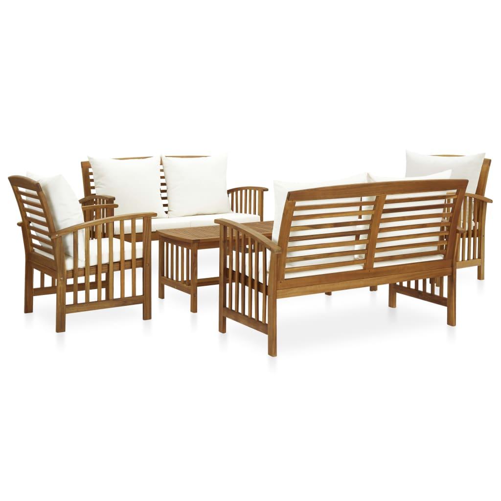 vidaXL Set mobilier grădină cu perne, 5 piese, lemn masiv de acacia poza 2021 vidaXL