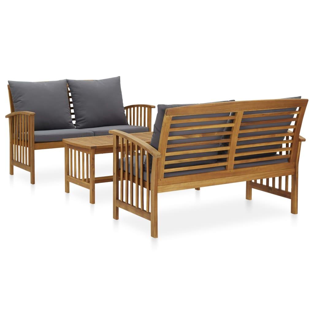 vidaXL Set mobilier de grădină cu perne, 3 piese, lemn masiv de acacia vidaxl.ro