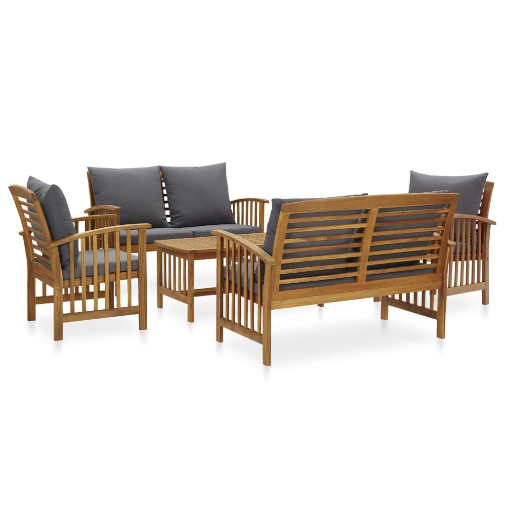 vidaXL Set mobilier grădină cu perne, 5 piese, lemn masiv de acacia poza vidaxl.ro