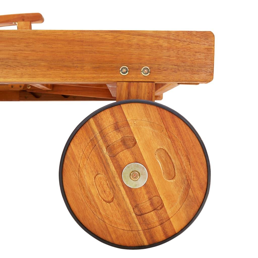 vidaXL 2-delige Ligbeddenset met tafel massief acaciahout