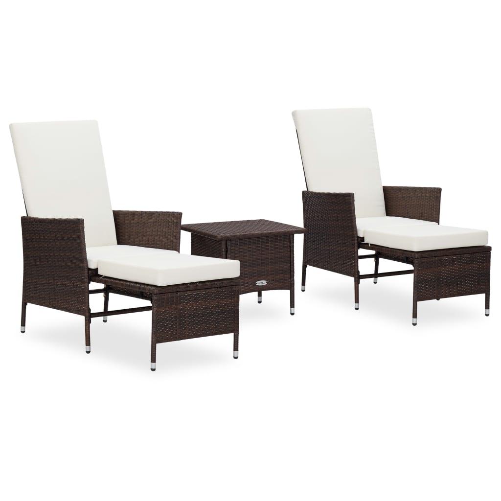 vidaXL Set mobilier de grădină cu perne, 3 piese, maro, poliratan poza 2021 vidaXL