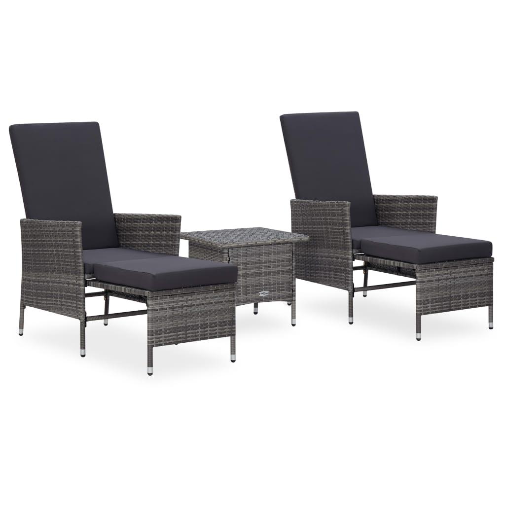 vidaXL Set mobilier de grădină cu perne, 3 piese, gri, poliratan imagine vidaxl.ro