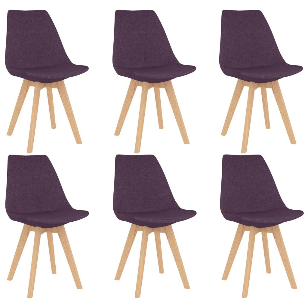vidaXL Blagovaonske stolice od tkanine 6 kom ljubičaste