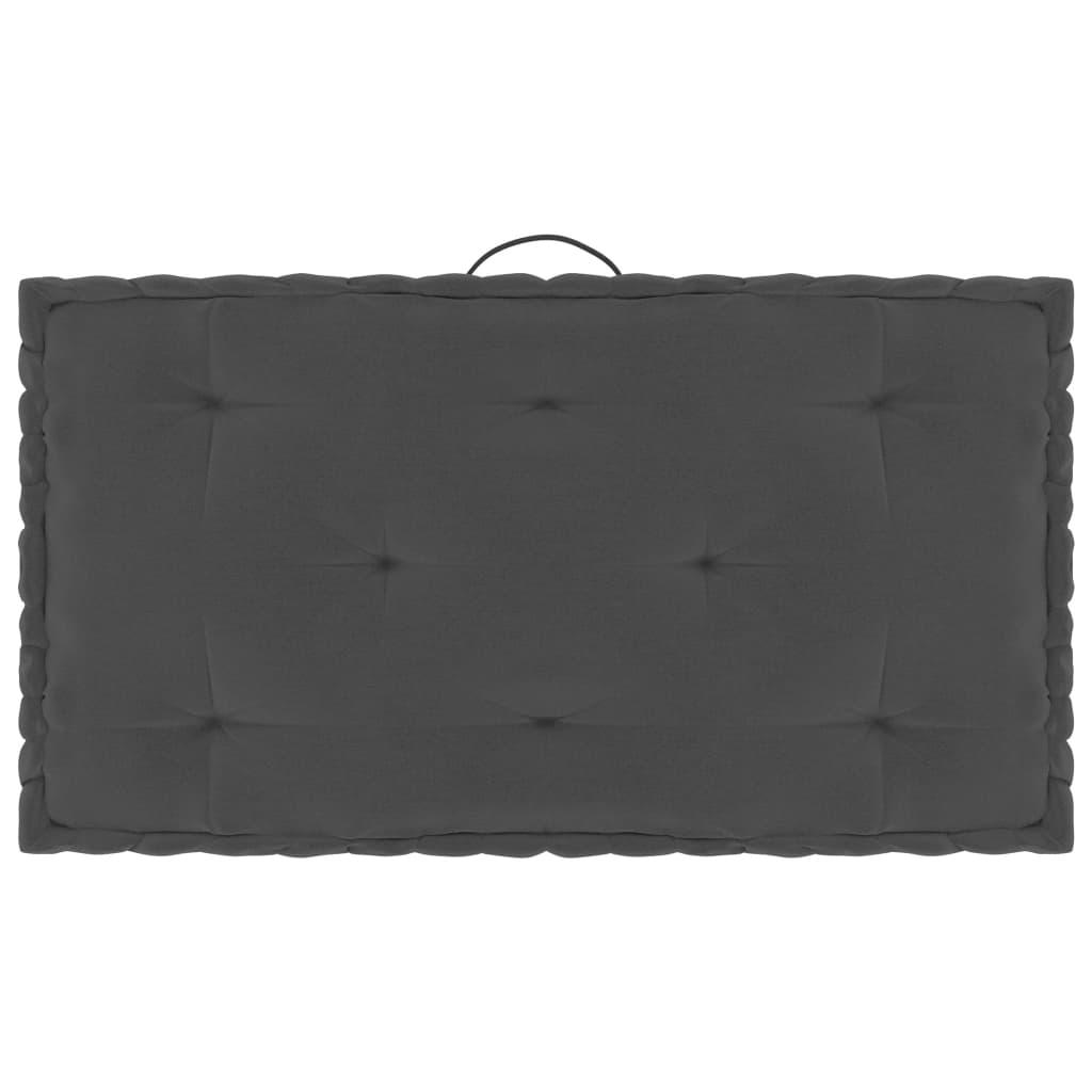 Poduška na palety a na podlahu antracit 73 x 40 x 7 cm bavlna