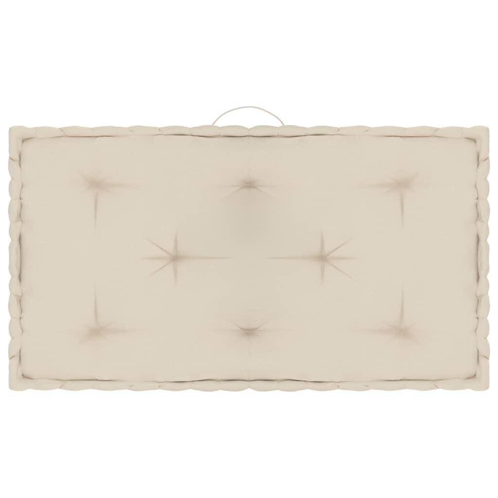 Poduška na palety a na podlahu béžová 73 x 40 x 7 cm bavlna