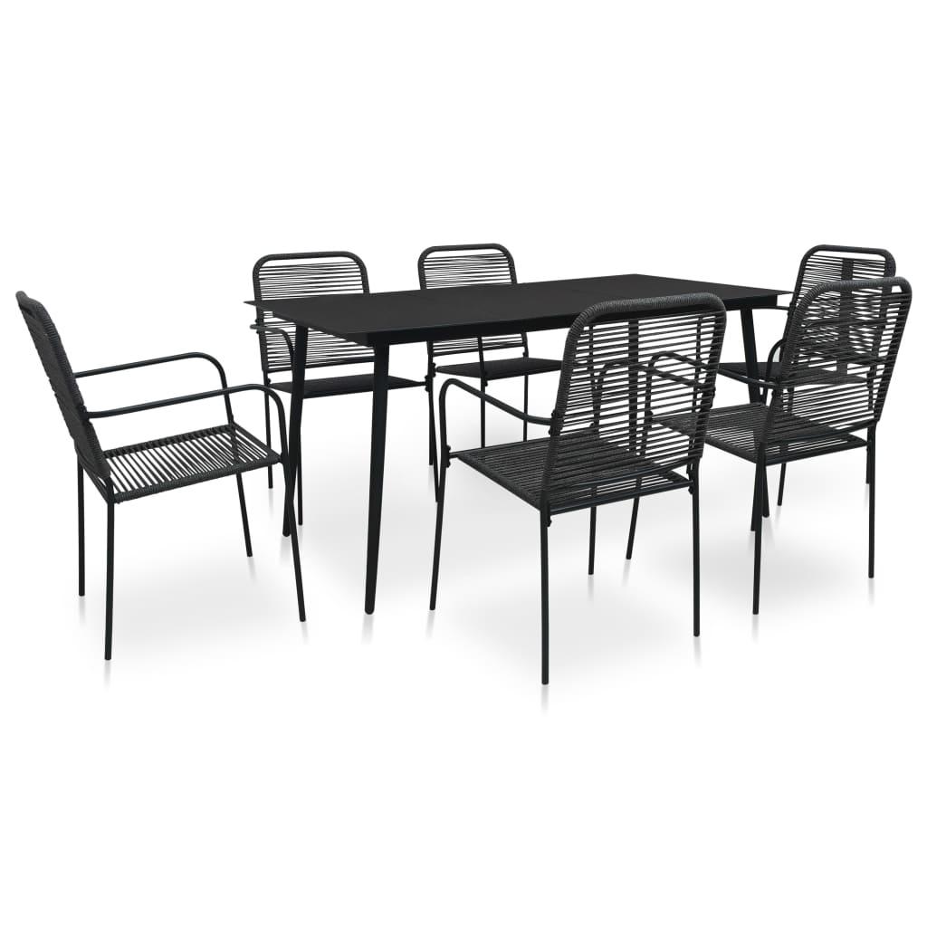 vidaXL Set mobilier de grădină, 7 piese, negru, frânghie bumbac & oțel vidaxl.ro