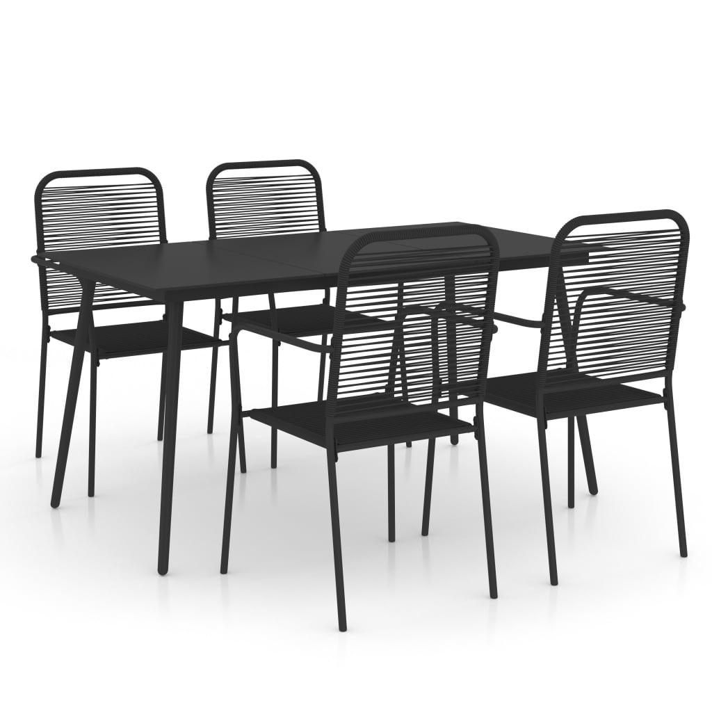 vidaXL Set mobilier de grădină 5 piese negru sfoară de bumbac și oțel poza 2021 vidaXL