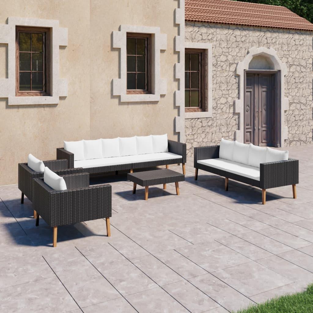 vidaXL Set mobilier de grădină cu perne, 5 piese, negru, poliratan poza vidaxl.ro