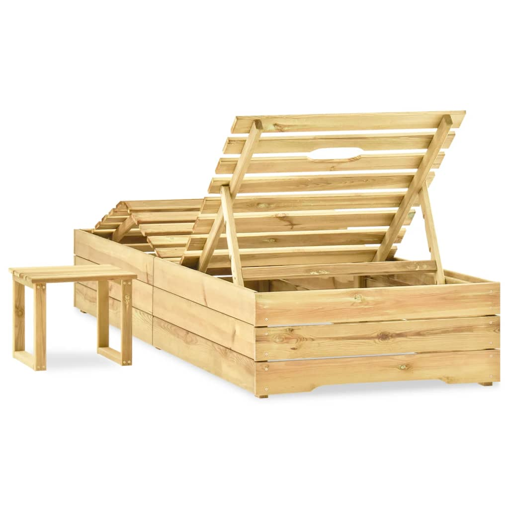 Ligbed met tafel groen geïmpregneerd grenenhout