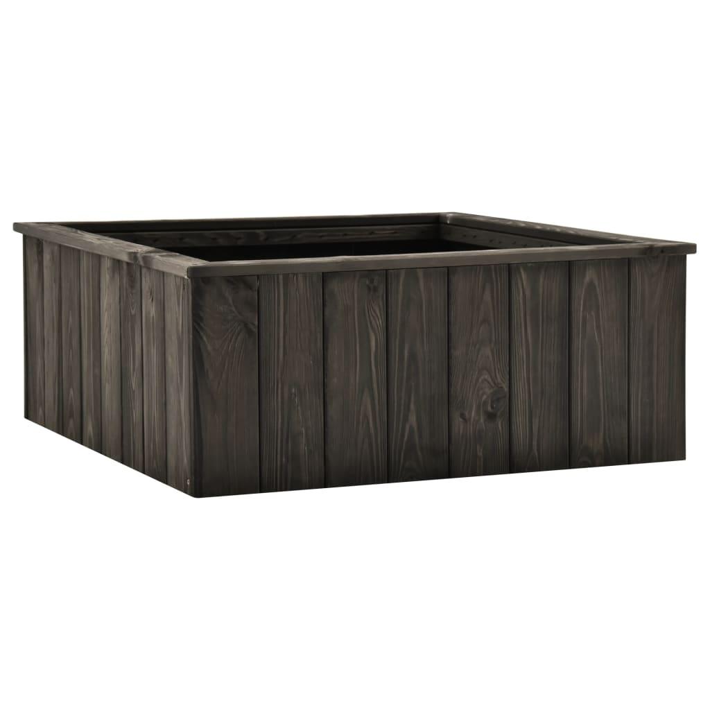 Vyvýšený záhon tmavě šedý 74 x 77 x 30 cm masivní borové dřevo