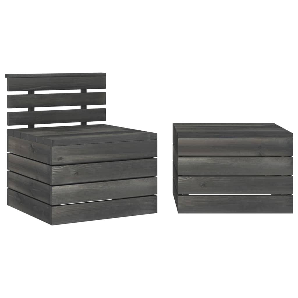 2dílná zahradní sedací souprava z palet borové dřevo tmavě šedá