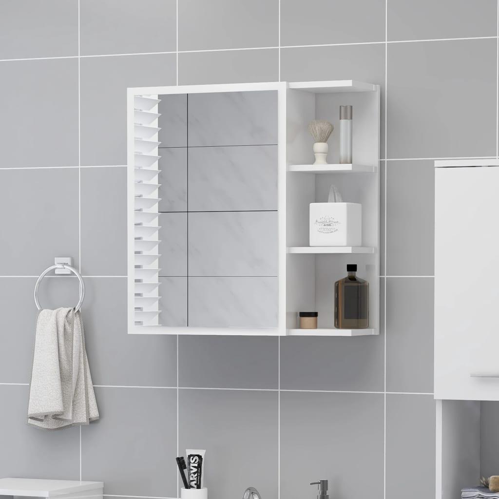 vidaXL Dulap de baie cu oglindă, alb extralucios, 62,5x20,5x64 cm, PAL vidaxl.ro