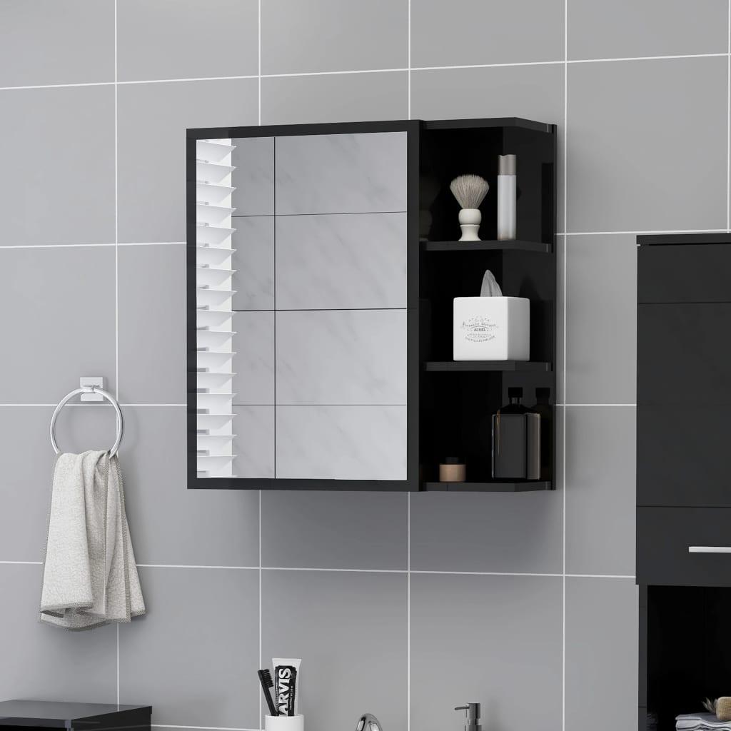 vidaXL Badkamerspiegelkast 62,5x20,5x64 cm spaanplaat hoogglans zwart