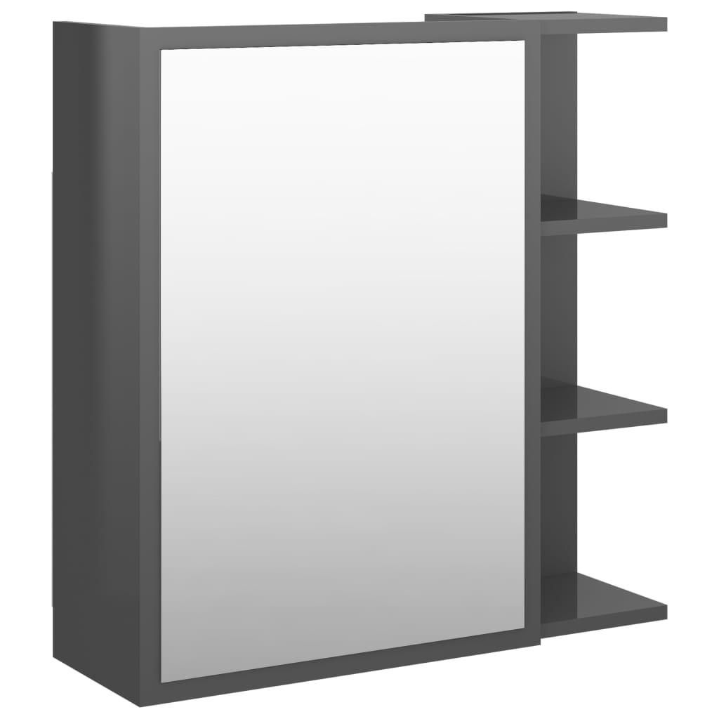 vidaXL Badkamerspiegelkast 62,5x20,5x64 cm spaanplaat hoogglans grijs