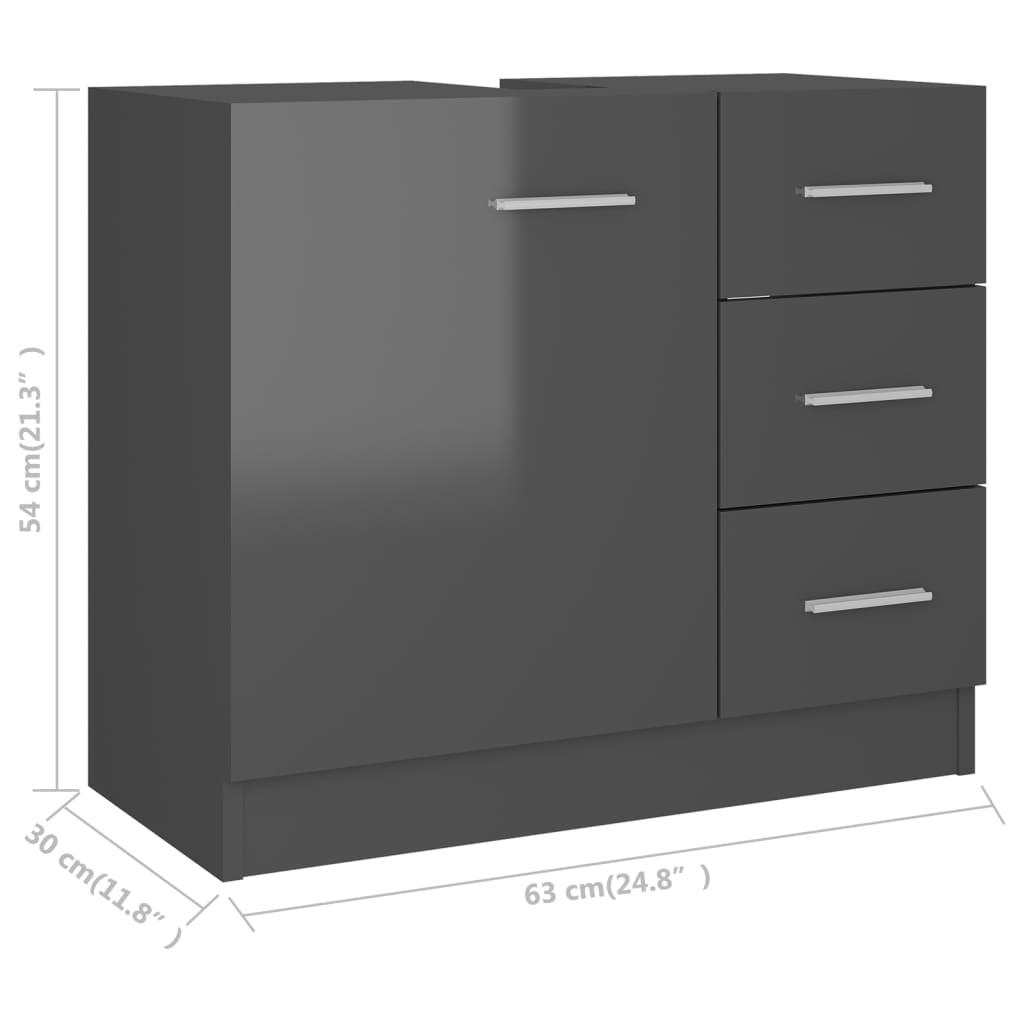 vidaXL Wastafelkast 63x30x54 cm spaanplaat hoogglans grijs