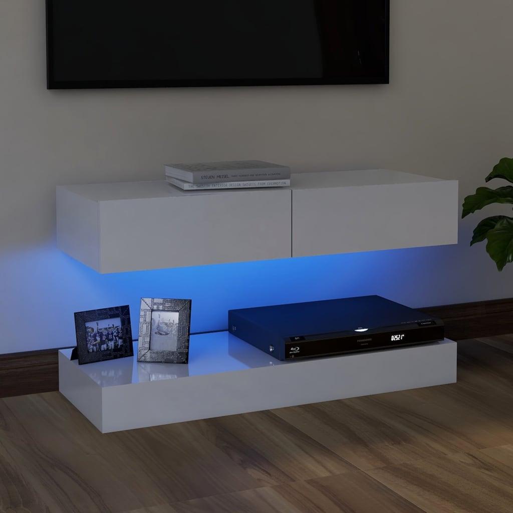 vidaXL Tv-meubel met LED-verlichting 90x35 cm hoogglans wit