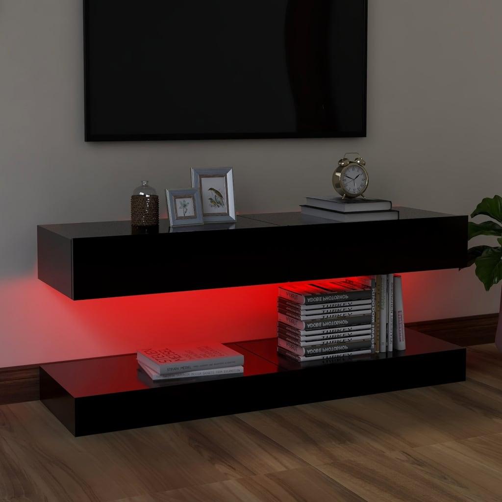 Tv-meubelen 2 st met LED-verlichting 60x35 cm zwart