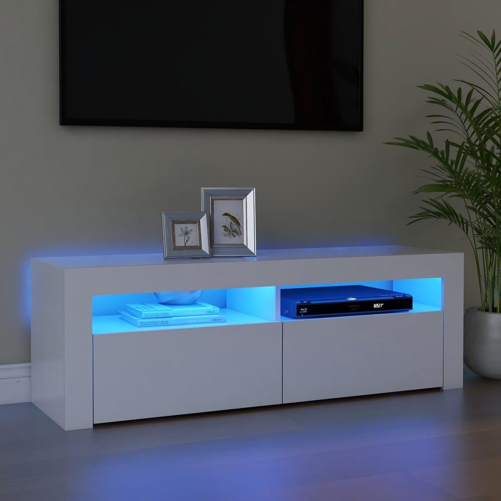 TV ormarić s LED svjetlima bijeli 120 x 35 x 40 cm