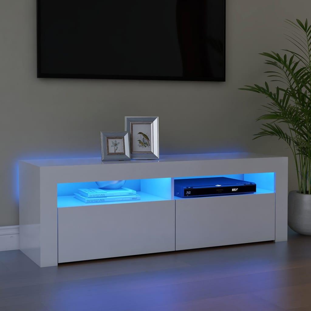 TV ormarić s LED svjetlima visoki sjaj bijeli 120 x 35 x 40 cm
