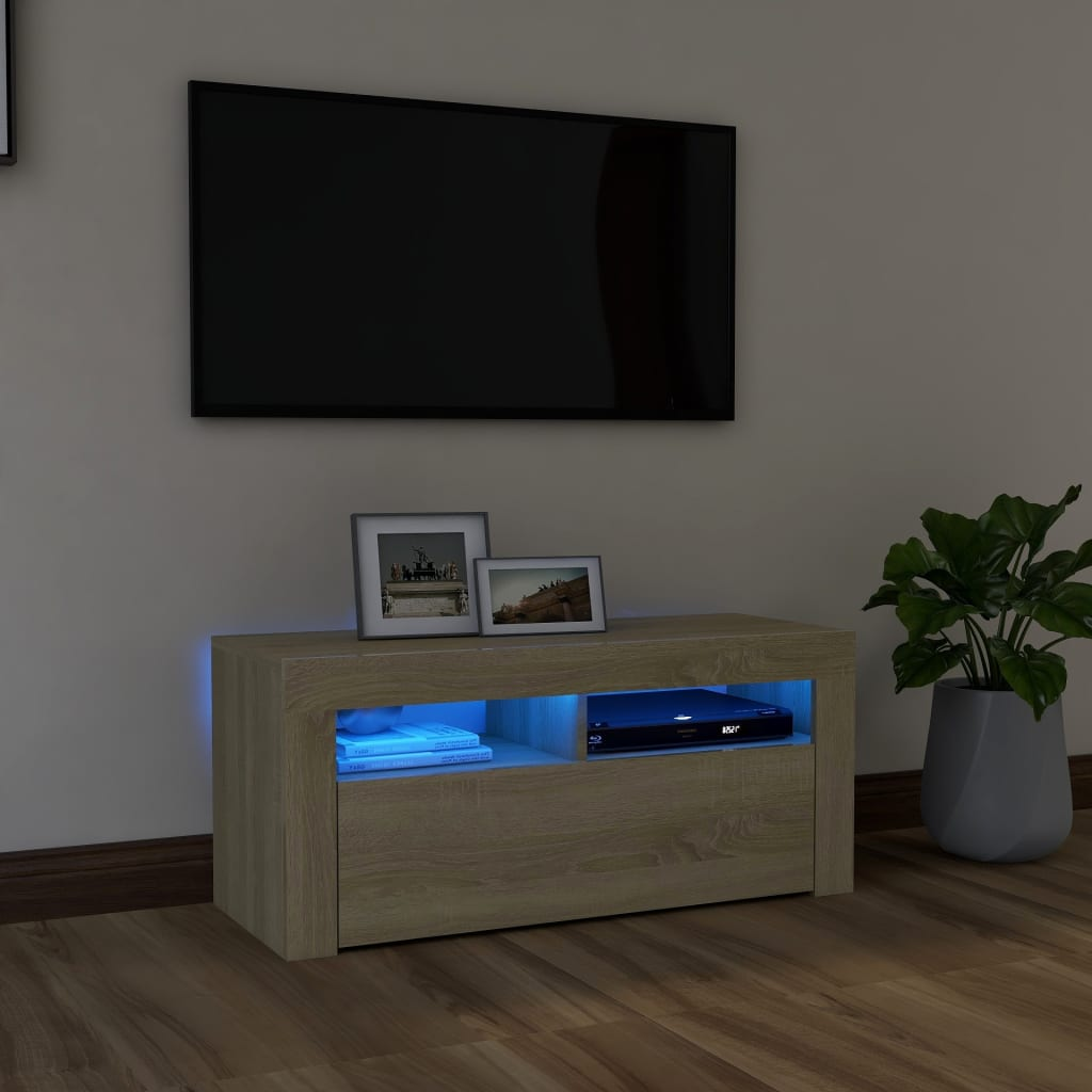 vidaXL Tv-meubel met LED-verlichting 90x35x40 cm sonoma eikenkleurig