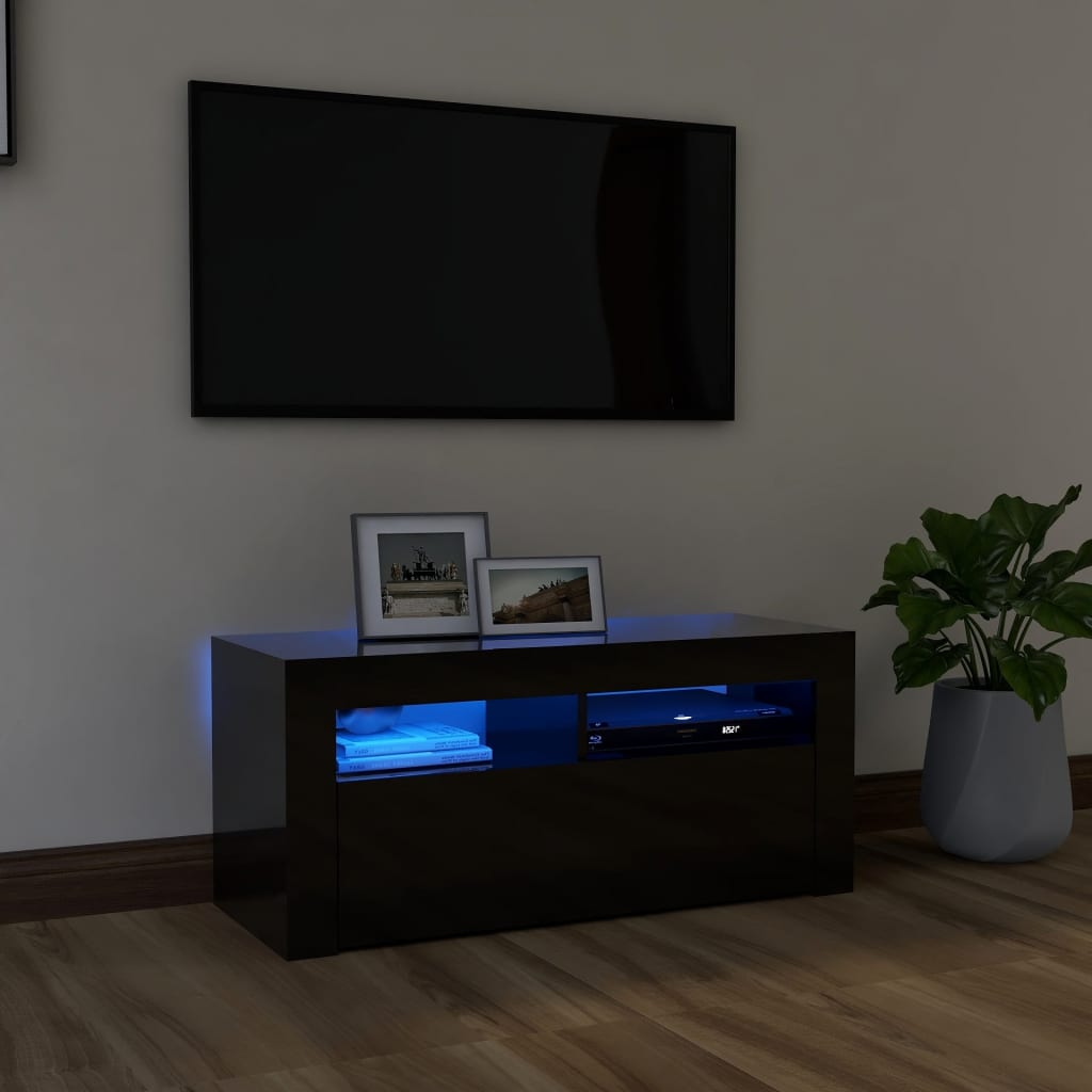 vidaXL TV-Schrank mit LED-Leuchten Hochglanz-Schwarz 90x35x40 cm