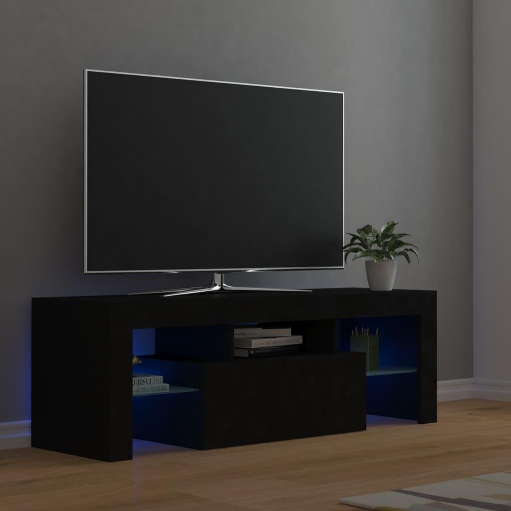 vidaXL TV-Schrank mit LED-Leuchten Schwarz 120x35x40 cm