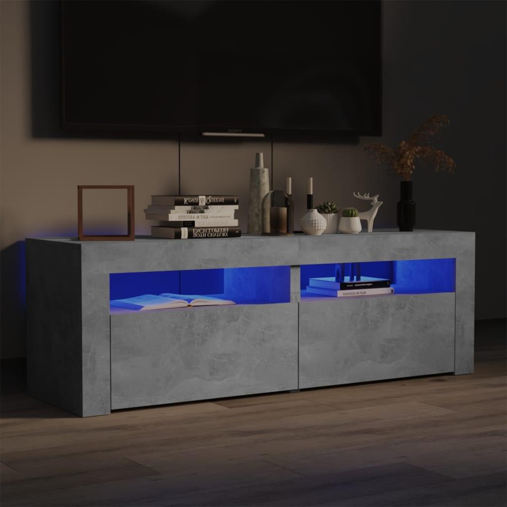 TV ormarić s LED svjetlima siva boja betona 120 x 35 x 40 cm
