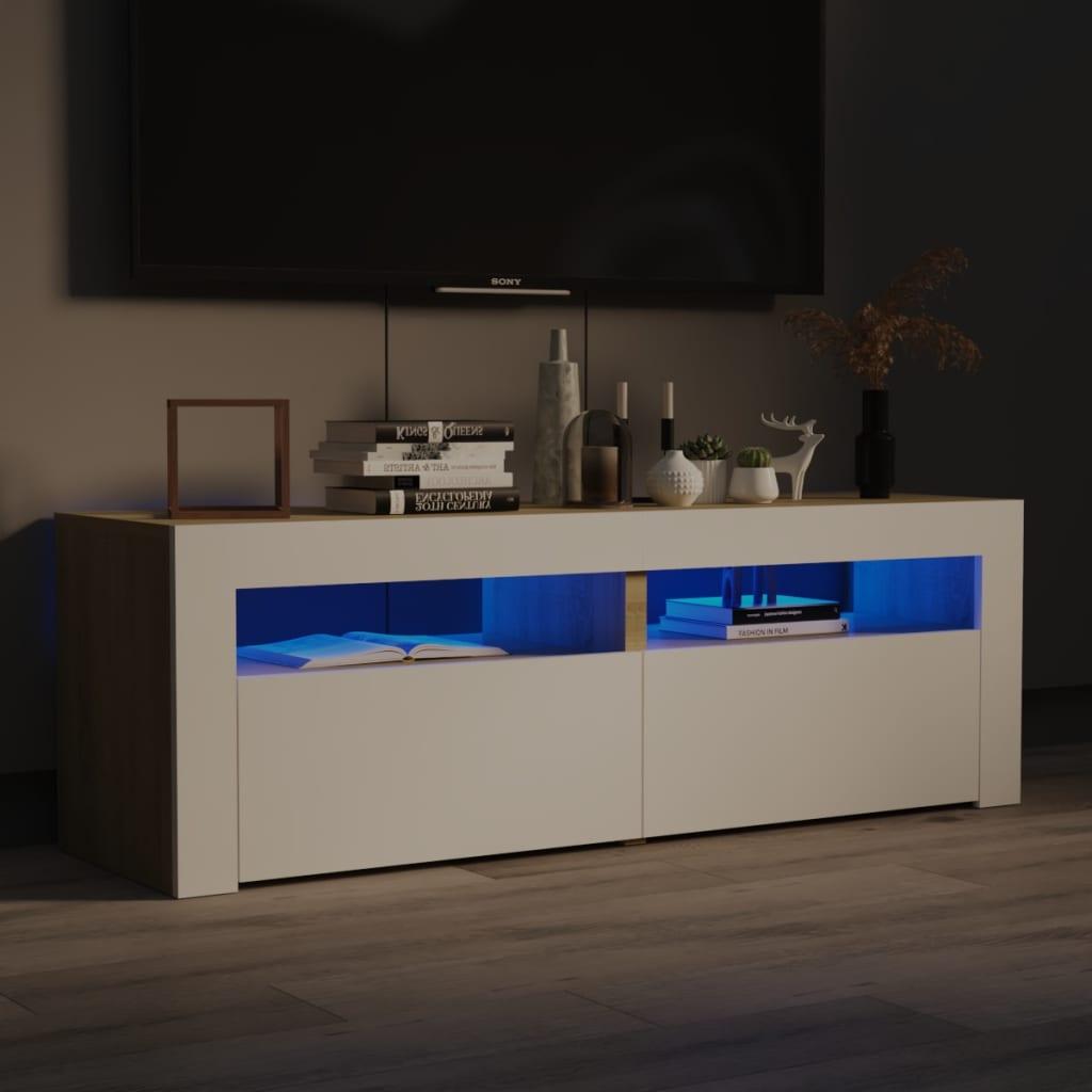 TV ormarić s LED svjetlima bijeli i boja hrasta 120x35x40 cm