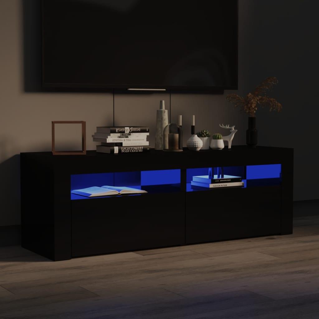 <ul><li>Farbe: Hochglanz-Schwarz</li><li>Material: Spanplatte</li><li>Abmessungen: 120 x 35 x 40 cm (L x B x H)</li><li>Mit RGB-LED-Licht</li><li>Montage erforderlich: Ja</li></ul>