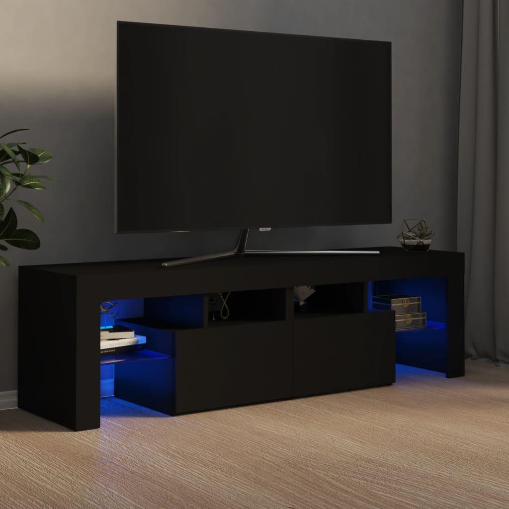 vidaXL TV ormarić s LED svjetlima crni 140 x 35 x 40 cm