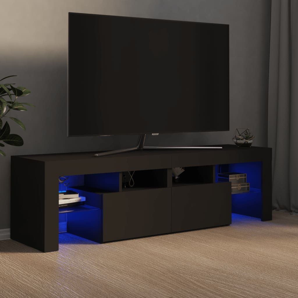 vidaXL TV ormarić s LED svjetlima sivi 140 x 35 x 40 cm