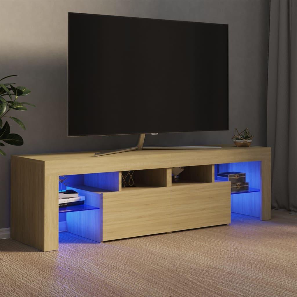 vidaXL TV ormarić s LED svjetlima boja hrasta sonome 140 x 35 x 40 cm