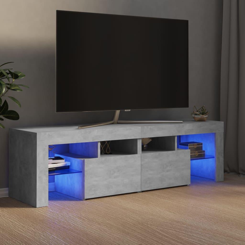 vidaXL TV ormarić s LED svjetlima siva boje betona 140 x 35 x 40 cm