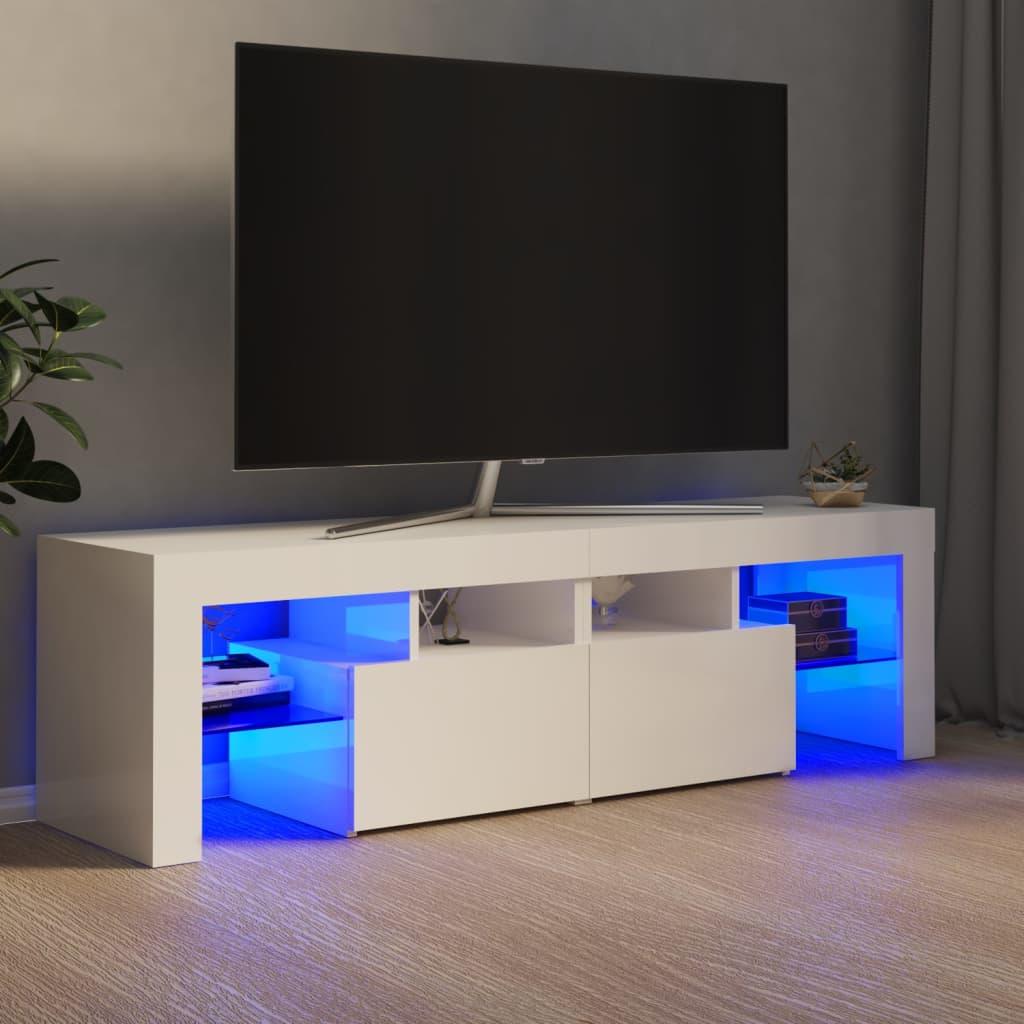 vidaXL TV ormarić s LED svjetlima visoki sjaj bijeli 140 x 35 x 40 cm