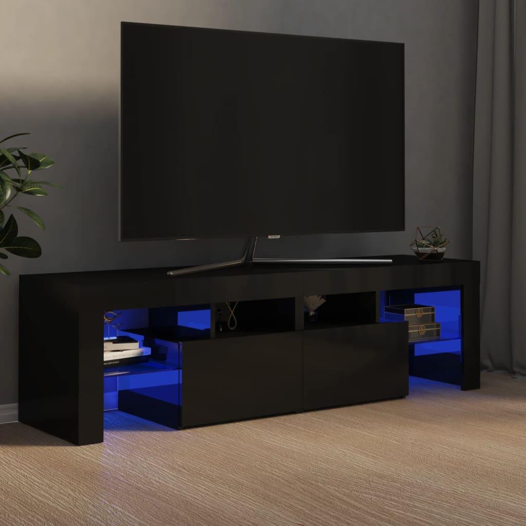 vidaXL TV ormarić s LED svjetlima visoki sjaj crni 140 x 35 x 40 cm