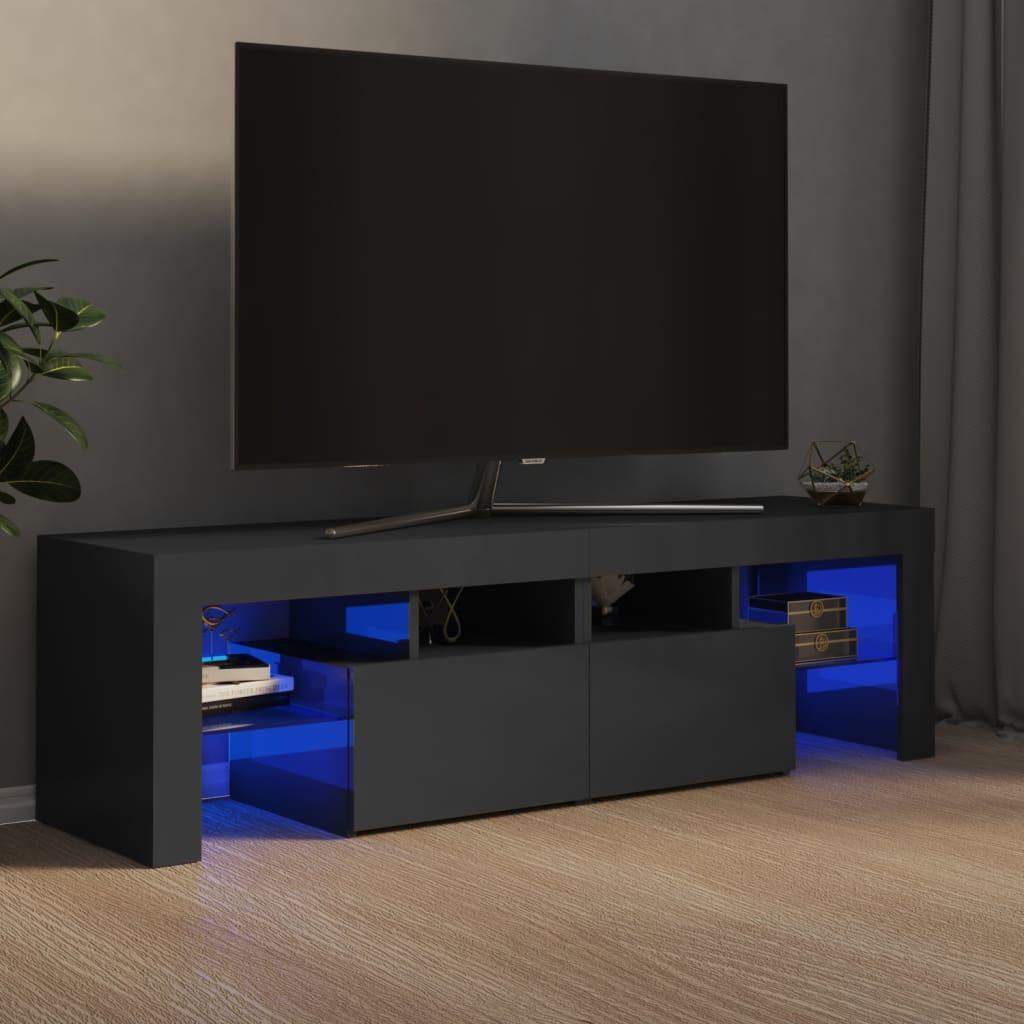 vidaXL TV ormarić s LED svjetlima visoki sjaj sivi 140 x 35 x 40 cm