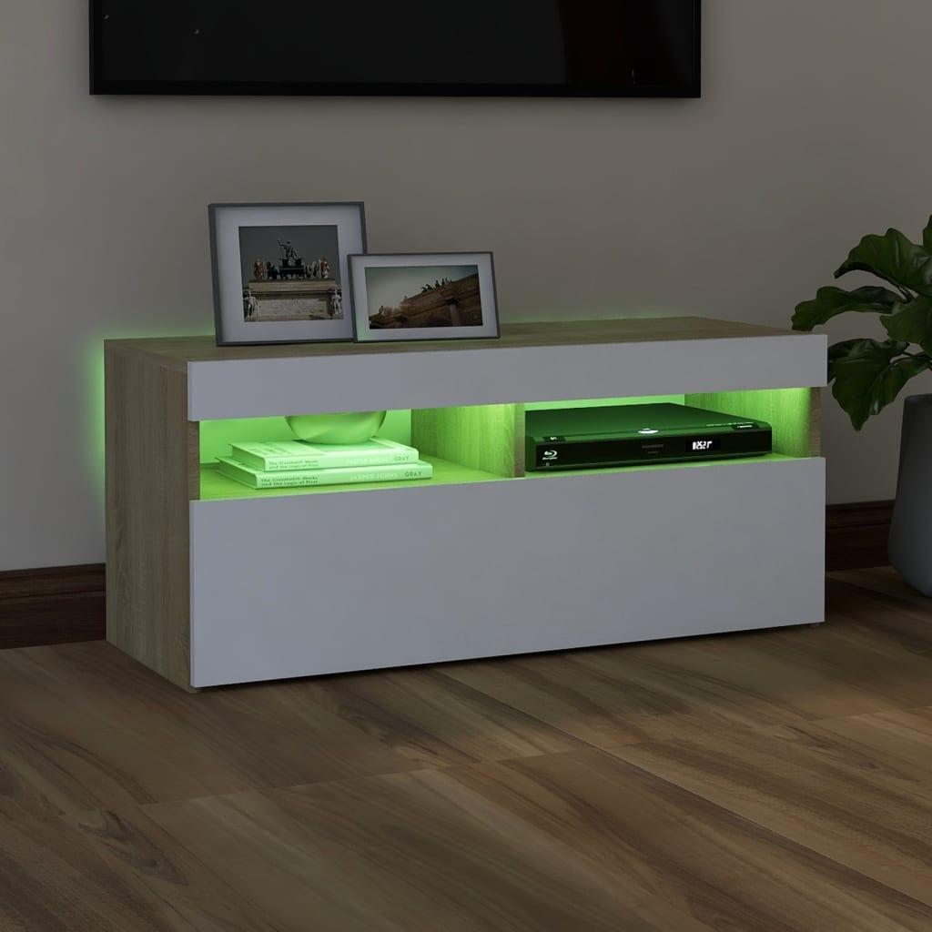vidaXL Tv-meubel met LED-verlichting 90x35x40 cm wit sonoma eikenkleur