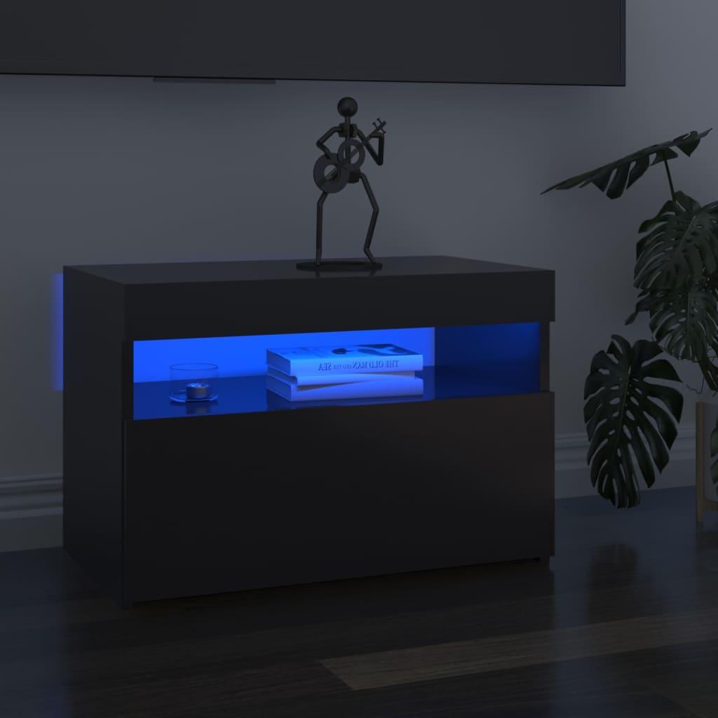 Tv-meubel met LED-verlichting 60x35x40 cm hoogglans grijs