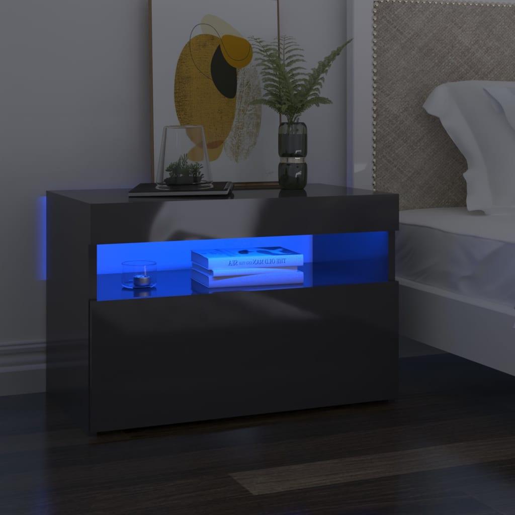 Tv-meubelen 2 st met LED-verlichting 60x35x40 cm hoogglans grijs